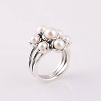 Wholesale Silver Pearl Ring with Natural Pearls made of Solid Sterling Silver US size rings fit European fashion style RIP042