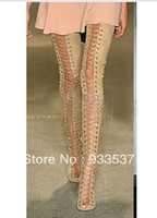 Half Boots Women PU Presell suede thigh High lace up Gladiator