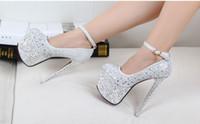 Wholesale New Super cm High Heels Europe and the runway waterproof Taiwan diamond rivets sexy nightclub wedding shoes women s shoes