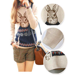 Wholesale S5Q Hot Rabbit Print Knitted Sweater Jumper Tops Pullover Cardigan Knitwear AAACOR
