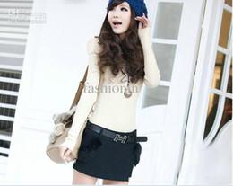 Wholesale 2013 New Arrival Straight Mid Sashes Cotton Fashion Mini Soild Korean Woman s Skirt DZY1