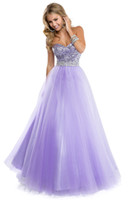 sexy ball gowns - Vestidos Sparking Ball Gown Sweetheart Beaded Crystal Sequins Ruched Lilac Tulle Sexy Long Backless Prom Dresses