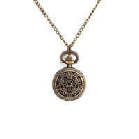 Wholesale Retro Vintage Steampunk Mechanical Alloy Skeleton Case Pendant Pocket Watch For Women Girl ladies Necklace Clock Watch