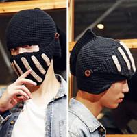Wholesale S5Q Fashion Unisex Crochet Knit Beanie Ski Roman Knight Hat Gladiator Mask Wool Cap AAACUV