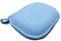 Wholesale 4pcs Microfibre Microfiber Absorbent Facial Cleansing Pads Face Deep Clean Exfoliate Sponge Blue with loop