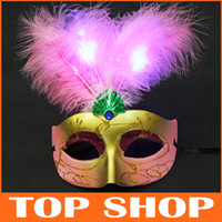 Party Masks Universal PVC+ Feather LED Lights Mask Feather Ma...