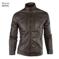 Wholesale 2015 European American Fashion Men s Autumn Winter Jacket Leather Jacket Mandarin Collar Motorcycle Jacket CoatM XXL