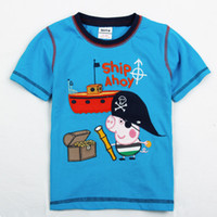 Wholesale New Arrival Peppa Pig Pirates Short Sleeve Baby Boys T Shirt Embroidery Cotton Children Tshirt Year Kids Clothes Wear QZ395