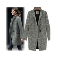 Wholesale S5Q Ladies Large Lapel Wool Cashmere Long Winter Coat AAACRW