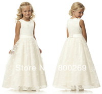 Flower Girl Dresses laced Yes 2014 New Arrival Round-neck Laced Sash Sleeveless Satin A-line Made in China Flower Girl Dress HT36