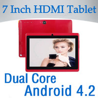 Wholesale 50pcs Inch HDMI Dual Core Android Capacitive Screen Tablet Pc Actions Q8 Allwinner A23 GB GHz MB DHL UPS Fast shipping
