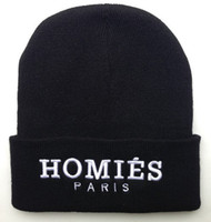 Wholesale HOMIES PARIS Beanie hat winter warm knitted caps for man and women hip hop Skullies cool Beanies