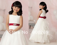 Flower Girl Dresses flower,sash,beaded Yes 2014 New Arrival Sash Beaded Flowers Ruffles Sleeveless Organza A-line Made in China Flower Girl Dress HT39