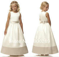 Flower Girl Dresses bow,sash Yes 2014 New Arrival Round-neck Sash Bow Pleat Sleeveless Satin A-line Made in China Flower Girl Dress HT35
