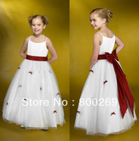 Flower Girl Dresses bow Yes 2014 New Arrival Spaghetti Strap Bow Flowers Sleeveless Zipper Satin A-line Made in China Flower Girl Dress HT33