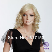 Wholesale women long blond synthetic wigs long curly wigs in stock meduim long inch color E ladies wig B