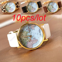 Wholesale 10pcs Fashion women mens Leather Watches With World Map Watch Dial Unisex Watches Wristwatch