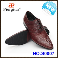 Wholesale Men dress shoes oxfords for officer with cow leather upper Simulated Crocodile Shoes Coffee size