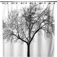 Wholesale S5Q European style Big Black Scenery Tree Design Bathroom Waterproof Fabric Shower Curtain AAACBP