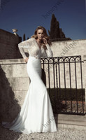 Trumpet/Mermaid Reference Images V-Neck New Arrivals Sexy Dark V-Neck Stretch Satin Wedding Dresses Lace Long Sleeves Bridal Gown Floor-Length Mermaid Wedding Dresses DH7112