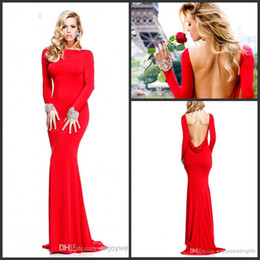 Wholesale 2014 Cheap Sexy New Red Long Sleeves Jersey Mermaid Celebrity Dresses Backless Crystals Beaded Red Carpet Gowns TE