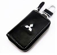 Wholesale New Alloy Keychain Genuine Leather Car Key Case Hold Cover For Mitsubish Series Car