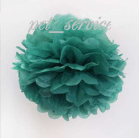 Wholesale 12 LARGE quot cm TEAL BLUE TISSUE PAPER POMPOMS wedding party decorations poms