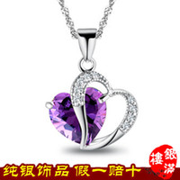 Wholesale Sterling silver necklace jewelry natural amethyst crystal heart shaped pendant zircon explosion models in Europe and America jewelry8 YML