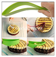 Wholesale Cake Pie Slicer Sheet Guide Plastic Cutter Server Bread Slice Knife Party Kitchen Gadget New