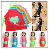 Wholesale Cute Children Waterproof Apron Cartoon Frog Printed Painting Cooking Bibs Sleeveless Aprons Colors