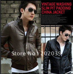 Wholesale Men s jackets biker jackets Men s More zippers leather jacket motorcycle jacket Abic