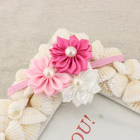 Wholesale New colorful Triple satin ribbon flower headbands DIY layered flower with Pearl on thin elastic Headband Baby headwear