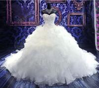 Ball Gown amazing wedding photos - Amazing Organza Ruffles Beaded Ball Gown Bridal Wedding Dresses Corset Back W1759
