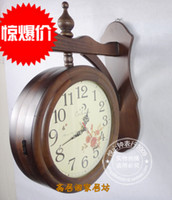 Wholesale Fashion antique rustic solid wood double faced clock wooden double faced clocks tx