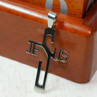 Wholesale Stainless Steel Jesus Cross Pendants Free black rope gift Metal Polished quot JESUS quot letter Christian Crucifix Pendant God bless