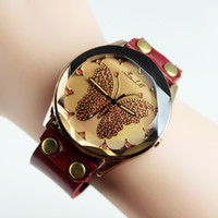 Wholesale 5 off Hasp type Butterfly pattern Fashionable retro leather watch Bracelet watch optional FZ
