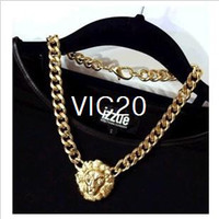 Wholesale New Fashion accessories European and USA Jewelry Exaggerated Gold Plated Crude Thick Chain Lion Head Necklace RJ1415