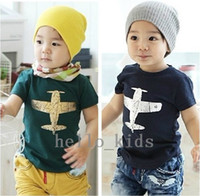 Wholesale Children s Discount Price Kids Clothes Pure Cotton Plane Picture Short Sleeve Boys Girls T Shirt Year Children Tee Shirts Baby T Shirt