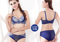 Bra Sets Lace Normal Genuine massage oil water bag bra women gather small chest deep v lace sexy lingerie bra set