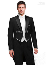 Wholesale Double breaste Black Tailcoat Groom Tuxedos Best Man Peak Satin Lapel Groomsmen Men Wedding Suits Bridegroom Jacket Pants Tie V