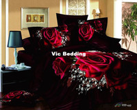 Adult Twill 100% Cotton Red rose black 3d queen size modern duvet covers comforters bedroom sets bedspreads bedding sets duvet comforter sets bed sets