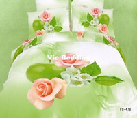 Adult Twill 100% Cotton cotton bedlinen hot pink flower green print 3D bedding set cheap home textile discount quilt duvet cover for Queen king