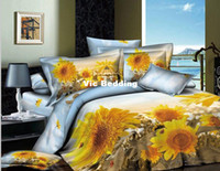 Adult Twill 100% Cotton 2013 designer sunflower Cotton 5pc 3d comforters bedding sets bedclothes duvet cover bed linens bed sheet set quilt cover sets