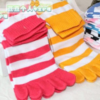 Wholesale Christmas Day Gift Women candy color socks toes stocking Cute cotton stripe separate toes socks WY296