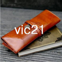 Fabric Pencil Bag Yes Wholesale New Fashion Korea stationery Vintage Retro Twilight Leather Roll Pencil case Pen Bag Pocket Pouch Cosmetic Bag RJ1465