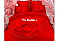 Adult Twill 100% Cotton Unique red rose wedding queen size 3d bedroom comforter set duvet covers bed sheets bedding sets bed linens bed cover collection