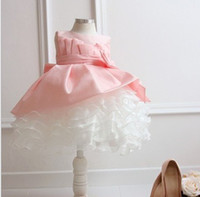 TuTu Winter Pleated Flower Baby Girls' Dresses,PINK Children Wedding Dress,Big Bowknot Princess Cake tutu Dress,Kids Birthday Party Dress