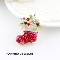 Wholesale Christmas gift new designer jewelry lovely sparkling alloy Christmas boot colorful rhinestone brooches for women