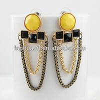 Wholesale Fashion jewelry personalized christmas ornaments gold color alloy colorful rhinestone tassel long dangle earrings
