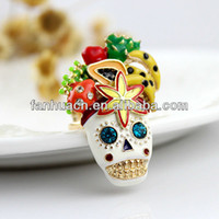 Wholesale Fashion hot selling new arrival distinctive rhinestone skull fruit flower enamel antique rings